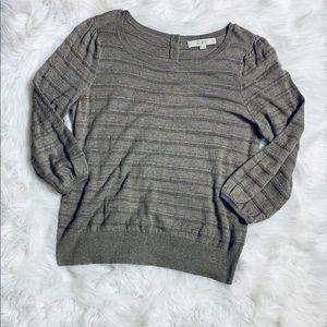 ANN TAYLOR LOFT Brown Striped Sweater-L **F579**